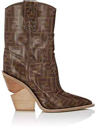 Fendi Women's Heeled Coated Canvas Cowbooy Booties
