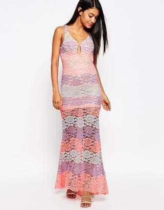 Love Triangle Multi Lace Plunge Maxi Dress