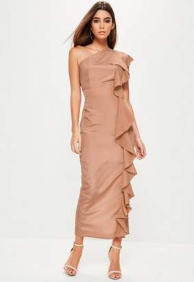 Missguided Pink One Shoudler Frill Maxi Dress