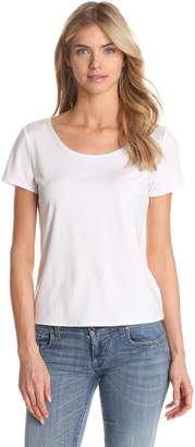 Notations Women's Solid Nylon Spandex Short Sleeve Top