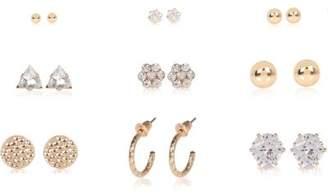 River Island Womens Gold tone rhinestone stud earrings pack