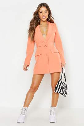 boohoo Petite Woven Self Belt Round Buckle Blazer Dress