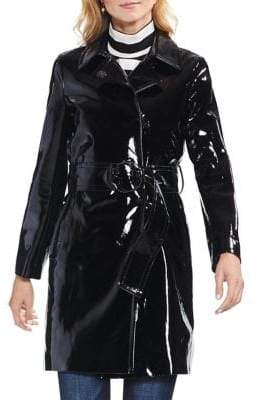 Vince Camuto Patent Pleather O-Ring Belted Coat