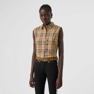 Burberry Sleeveless Vintage Check Cotton Poplin Oversized Shirt