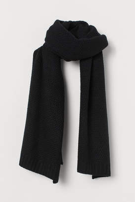 H&M Textured-knit Scarf - Black