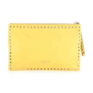 Valentino Rockstud Yellow Leather Clutch Bag