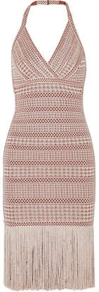 Herve Leger Fringed Metallic Stretch Jacquard-knit Dress - Beige