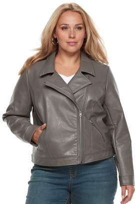 Apt. 9 Women's Plus Zipper Moto Jacket