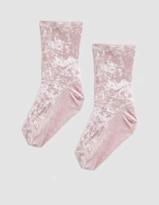 Darner Blush Crushed Velvet Sock in Blush