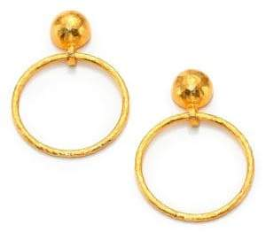 Gurhan Hoopla 24K Yellow Gold Geometric Geo Drop Hoop Earrings
