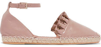 Valentino Garavani Studded Ruffled Leather Espadrilles - Baby pink