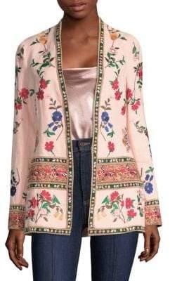 Alice + Olivia Jerri Embroidered Open Front Blazer