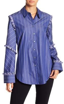 Cinq à Sept Billie Pinstripe Ruffle Shirt