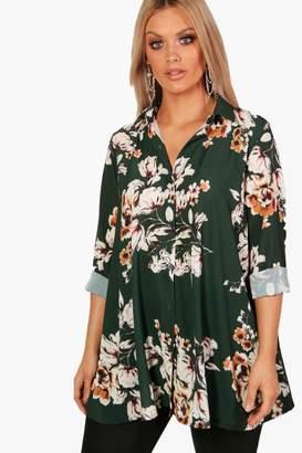 boohoo Plus Floral Woven Shirt