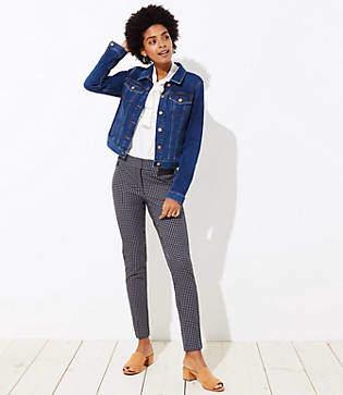 LOFT Skinny Button Plaid Pants in Marisa Fit