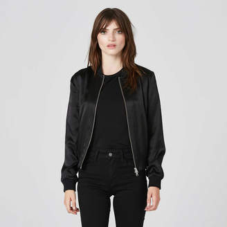 DSTLD Womens Silk Bomber Jacket in Black
