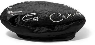 Eugenia Kim Cher Swarovski Pearl-embellished Velvet Beret - Black
