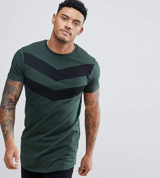 Asos Good For Nothing Muscle T-Shirt In Khaki With Chevron Print Exclusive To