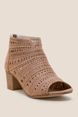 Not Rated Luina Peep Toe Low Block Heel - Taupe