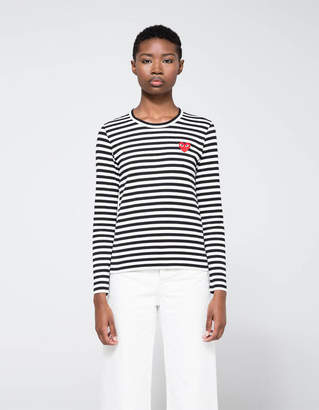 Comme des Garcons Play Striped Long Sleeve Tee in Black