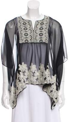 Anna Sui Embroidered Sheer Top w/ Tags
