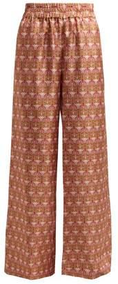 La DoubleJ Mantis Print Palazzo Trousers - Womens - Pink Multi
