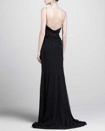J. Mendel Asymmetric Beaded Gown