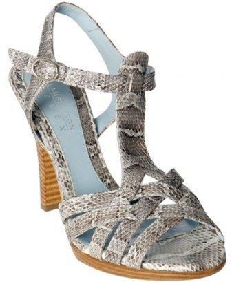 Lambertson Truex grey snakeskin 'Zola' criss-cross strap heels