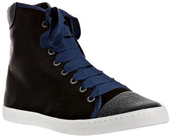 Lanvin black satin cap toe high top sneakers