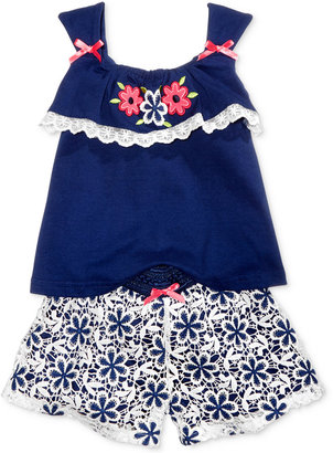 Nannette 2-Pc. Embroidered Top & Floral Shorts Set, Baby Girls (0-24 months) $34 thestylecure.com