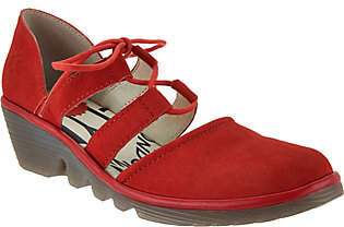 Fly London Leather Closed Toe Lace-up Wedges -Poma