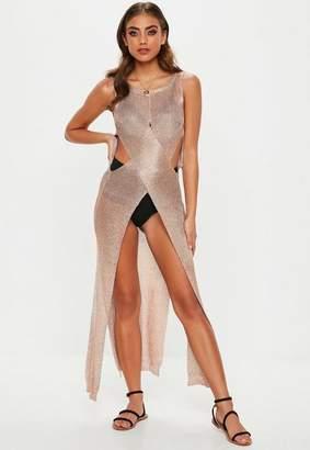Missguided Metallic Knit Wrap Maxi Dress