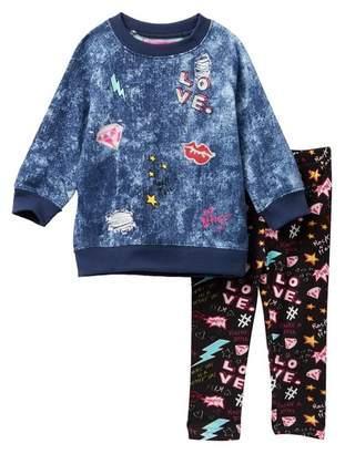 Betsey Johnson Embellished Fleece Top & Printed Leggings Set (Toddler Girls)