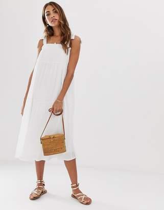 Asos Design DESIGN pleated midi sundress with tie straps