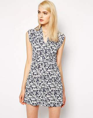 French Connection Tie Waist Dress with Cap Sleeves