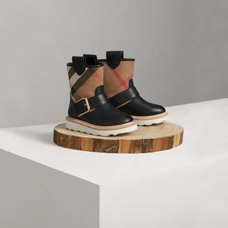 Burberry House Check and Leather Weather Boots