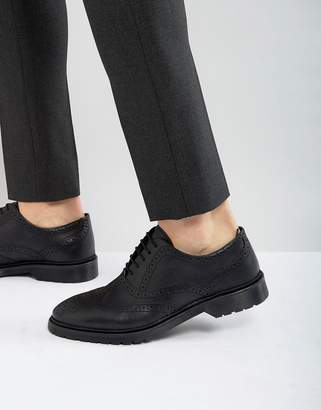 Asos DESIGN Brogue Shoes In Black Leather With Ribbed Sole