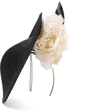 Philip Treacy Sinamay Straw And Organza Headpiece - Black