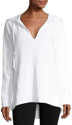 Allen Allen V-Neck Cotton-Blend Hoodie $59 thestylecure.com