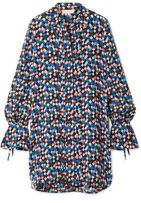 Tory Burch - Kaylee Printed Silk-crepe Mini Dress - Navy