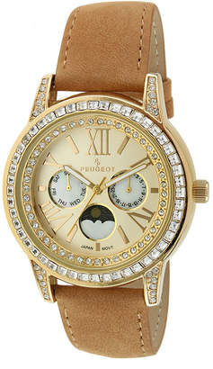 Peugeot Womens Crystal-Accent Brown Leather Strap Moon Phase Watch 3031G