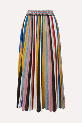Missoni Pleated Striped Metallic Knitted Midi Skirt - Black