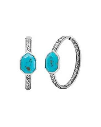 Stephen Dweck Medium Turquoise Pear Hoop Earrings