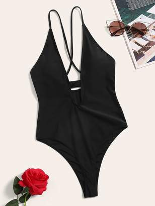 Shein Crisscross Back Plunging One Piece Swimsuit