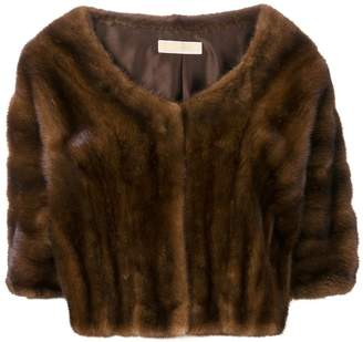 Liska boat-neck cropped fur jacket