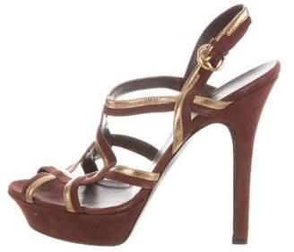 Gucci Platform Metallic-Trimmed Sandals