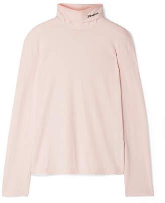 Calvin Klein Embroidered Cotton-jersey Turtleneck Top - Pastel pink
