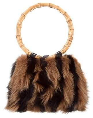 Adrienne Landau Bamboo-Accented Fox Fur Bag