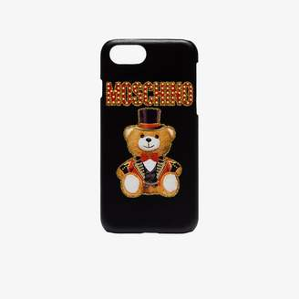Moschino black bear logo leather iPhone 8 case