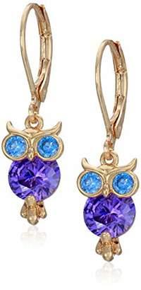 Betsey Johnson GBG) CZ Owl Drop Earrings